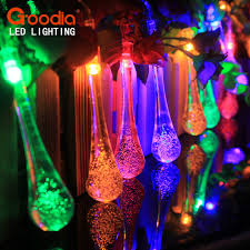 solar powered outdoor string lights 4 8m 20 led raindrop solar powered outdoor string lights for outside