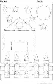 trace lines worksheet and color the picture preschool crafts
