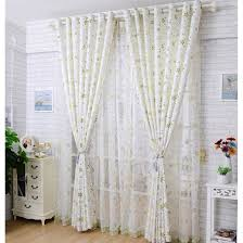 Insulate Patio Door Beige Floral Print Polyester Pastoral Insulated Patio Door Curtains