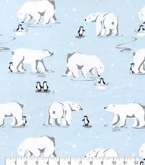 42 u0027 u0027 polar bear u0026 penguin on ice flannel fabric joann joann