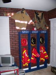 Curtains Spray Painted To Resemble The Bottom Of A Fire Fighter - Firefighter kids room