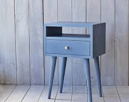 oak nightstand with drawer grey bedside mid century