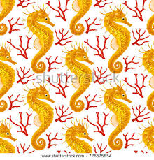 ladybug wrapping paper vector seamless pattern whith seahorse yellow stock vector
