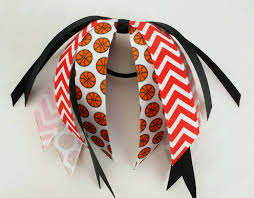 ribbon hair ties and black basketball bow hair streamers team bows chevron
