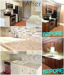 before and after pictures of painted laminate kitchen cabinets before and after 300 kitchen transformation backsplash