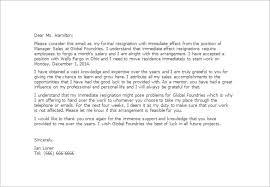 sample immediate resignation letter template