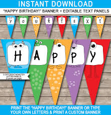 monster party banner template birthday banner editable bunting