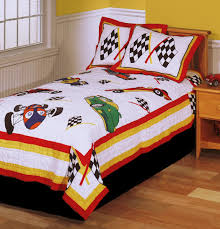 race cars boys bedding twin quilt set checkered racing flags