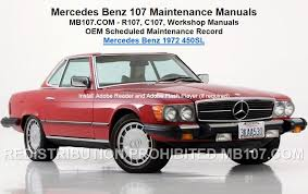 maintenance for mercedes mercedes 107 maintenance manuals