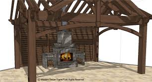 3rd gable pavilion w privacy wall u0026 fireplace western timber frame