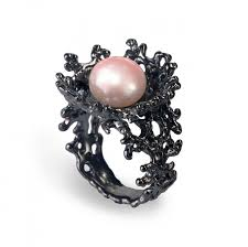 pink and black engagement rings coral flower pink pearl ring black ring black engagement ring