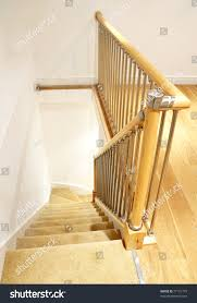 Looking Down Stairs by Modern House Interior Typical Uk British Stock Photo 77121775