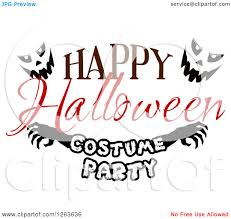 clipart of a happy halloween greeting with jackolantern faces and