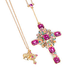 cross necklace pink images Butler wilson long crystal pendant cross necklace deep pink jpg
