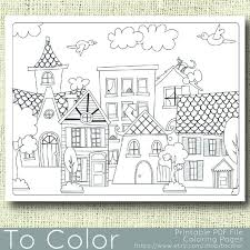 printable houses coloring adults pdf jpg instant