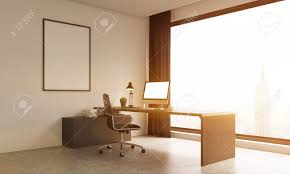 bureau d ontable modern office room with stylish furniture and york background
