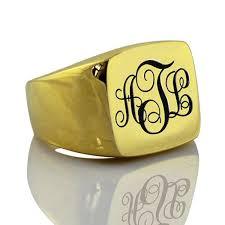 Monogram Signet Rings 18ct Gold Plated Monogram Signet Ring