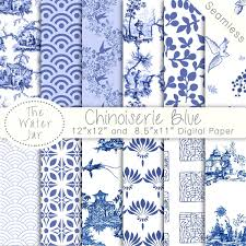 chinoiserie china blue digital papers chinoiserie scrapbook