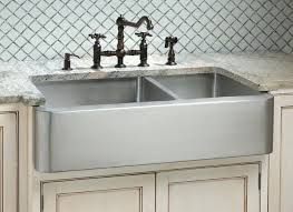 Stainless Steel Sink With Bronze Faucet Farm Sink Faucets Stainless Steel Sink Farmhouse Kitchen Sinks