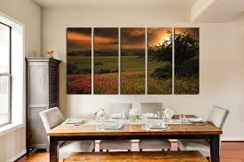 Dining Room Wall Art 5 Piece Huge Canvas Print Scenery Huge Pictures Green Wall Decor