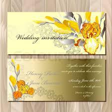 wedding card with yellow orange golden iris flower bouquet