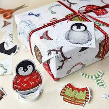christmas wrapping paper sets penguin dress up activity wrapping paper set interactive