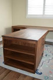 T Shape Desk Walnut Flatiron T Shape Desk With Waterfall Legs Bookcase