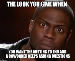 Meme Meeting - the look you give when you want the meeting to end and a coworker