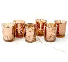 mercury tea light holders gold votive candles set of copper rose mercury glass candle tea