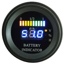 round battery gauge dual led line 10 bar digital battery discharge