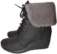 ugg australia black zea shearling wedge lace up boots ankle bootie