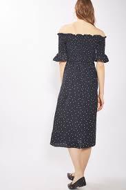 topshop dress ruched bardot midi dress topshop