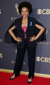 Red Carpet Entertainment Padma Lakshmi Wears Aclu Ribbon On Emmys Red Carpet