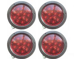 flush mount trailer lights 4 led round flush mount stop turn tail lights red 5 3 8 truck