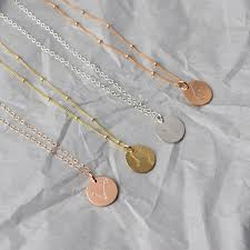 rose silver necklace images Dainty zodiac constellation disk necklace silver gold rose jpg