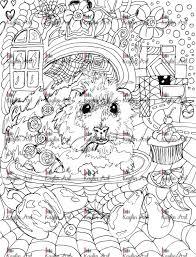 guinea pig coloring handdrawn super cute animal forest