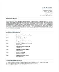 Fitness Instructor Resume Sample Resume For Gym Instructor Certified Personal Trainer Resume