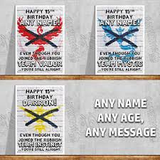 personalised birthday card team valor mystic instinct pokemon go