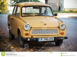 trabant old yellow trabant 601s car on the street editorial stock photo