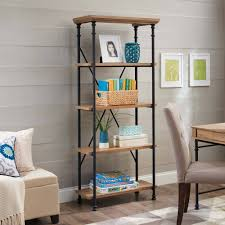 better homes and gardens river crest 5 shelf bookcase rustic oak