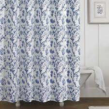 White On White Shower Curtain Laura Ashley Charlotte Blue And White Floral Cotton Shower Curtain