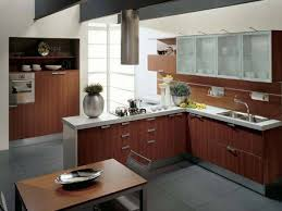 modern small kitchen remodel with orange u shape cabinet walnut l