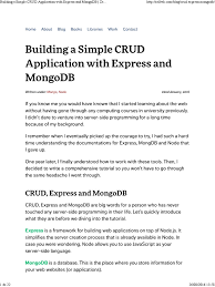 mongodb building a simple crud application with express and