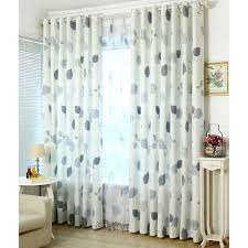 Leaf Design Curtains Gray Blue Leaf Pattern Cotton Poly Decorative Country Curtains