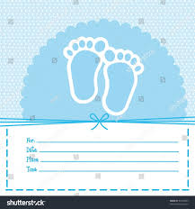 blue baby shower card footprint baby stock vector 97497863