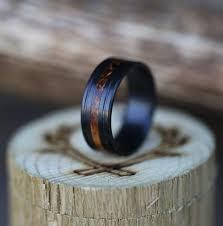 black zirconium wedding bands treated black zirconium whiskey barrel wedding band