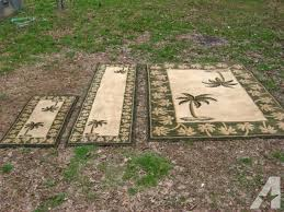 Palm Tree Runner Rug 3 Set Area Rugs Oasis Green Beige Palm Tree