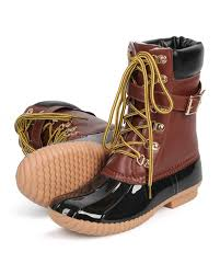 womens duck boots size 12 liliana rust 1 leatherette two tone mix media lace up