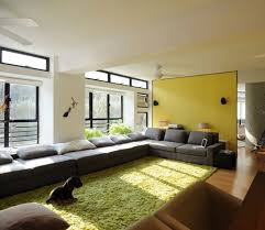 yellow wall japanese living room style without sofa with red sofas