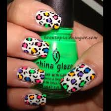 rainbow neon and white leopard nail art beauty u0026 fashion